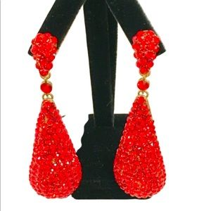 NWOT Gorgeous XTRA LARGE Red Crystal Earrings